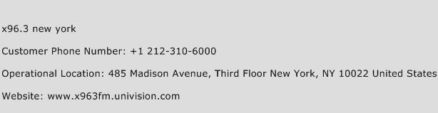 X96.3 New York Phone Number Customer Service