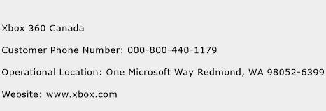 Xbox 360 Canada Phone Number Customer Service