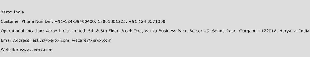 Xerox India Phone Number Customer Service