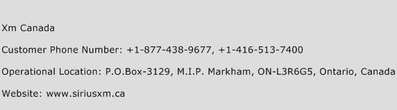 Xm Canada Phone Number Customer Service