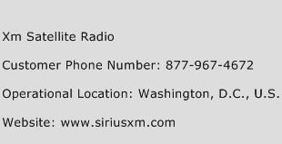 Xm Satellite Radio Phone Number Customer Service