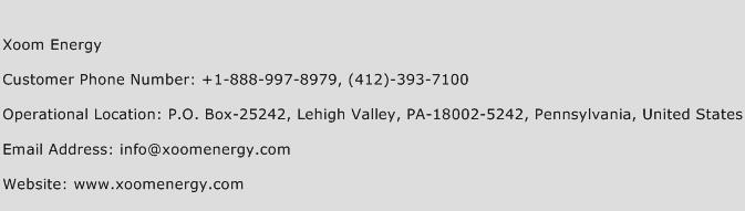 Xoom Energy Phone Number Customer Service
