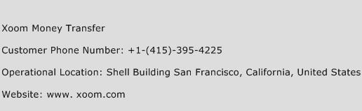 Xoom Money Transfer Phone Number Customer Service