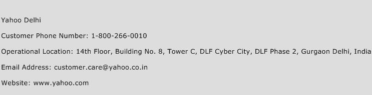 Yahoo Delhi Phone Number Customer Service