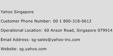 Yahoo Singapore Phone Number Customer Service