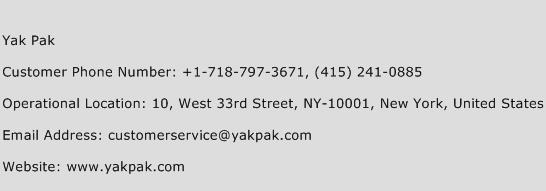 Yak Pak Phone Number Customer Service