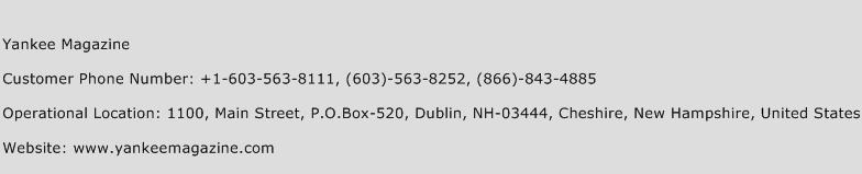 Yankee Magazine Phone Number Customer Service