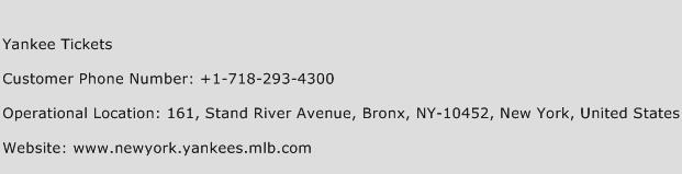 Yankee Tickets Phone Number Customer Service