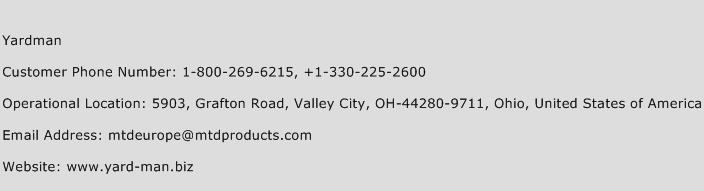 Yardman Number | Yardman Customer Service Phone Number