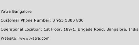 Yatra Bangalore Phone Number Customer Service