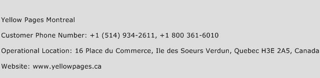 Yellow Pages Montreal Phone Number Customer Service
