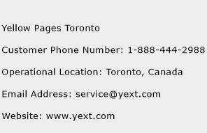 Yellow Pages Toronto Phone Number Customer Service