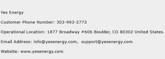 Yes Energy Number Yes Energy Customer Service Phone