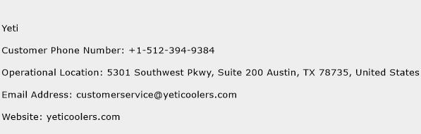 Yeti Phone Number Customer Service