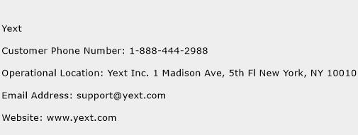 Yext Phone Number Customer Service