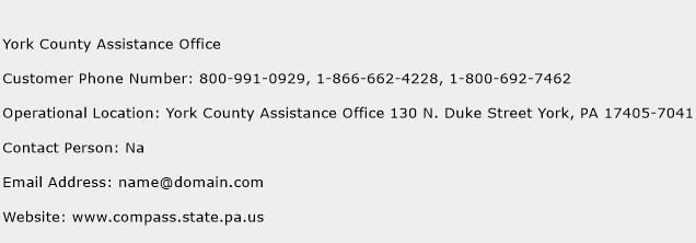 York County Assistance Office Phone Number Customer Service