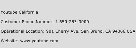 Youtube California Phone Number Customer Service