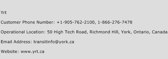 Yrt Phone Number Customer Service