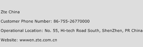 ZTE China Phone Number Customer Service