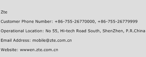 ZTE Phone Number Customer Service