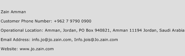 Zain Amman Phone Number Customer Service