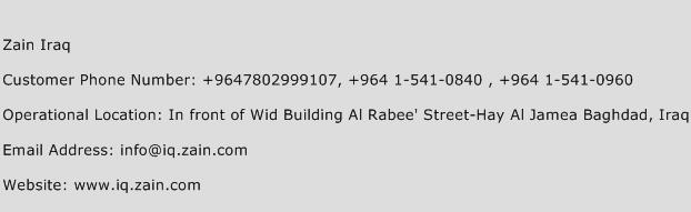 Zain Iraq Phone Number Customer Service
