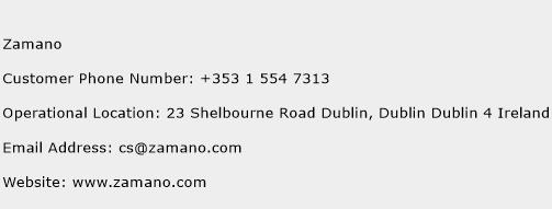 Zamano Phone Number Customer Service