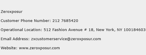Zeroxposur Phone Number Customer Service