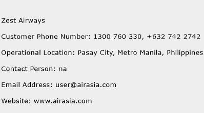 Zest Airways Phone Number Customer Service