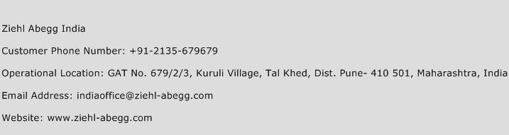 Ziehl Abegg India Phone Number Customer Service