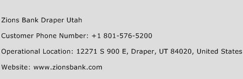 Zions Bank Draper Utah Phone Number Customer Service