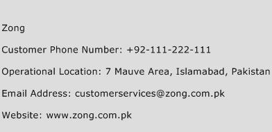 Zong Phone Number Customer Service