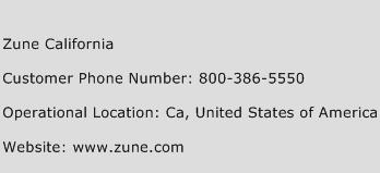 Zune California Phone Number Customer Service