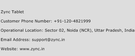 Zync Tablet Phone Number Customer Service