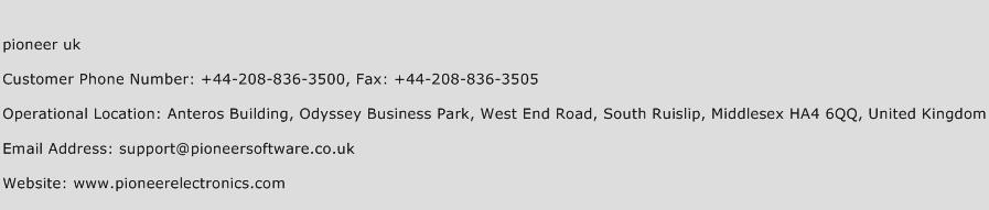 pioneer uk Phone Number Customer Service