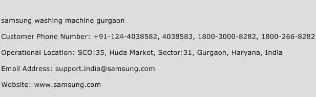 samsung washing machine gurgaon Phone Number Customer Service
