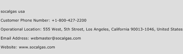 socalgas usa Phone Number Customer Service