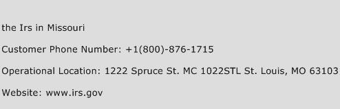 the Irs in Missouri Phone Number Customer Service