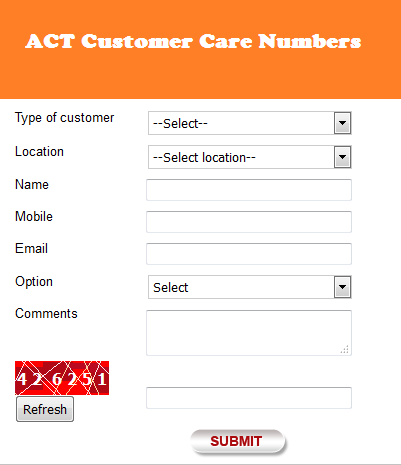 Act Broadband customer care number 3406 4