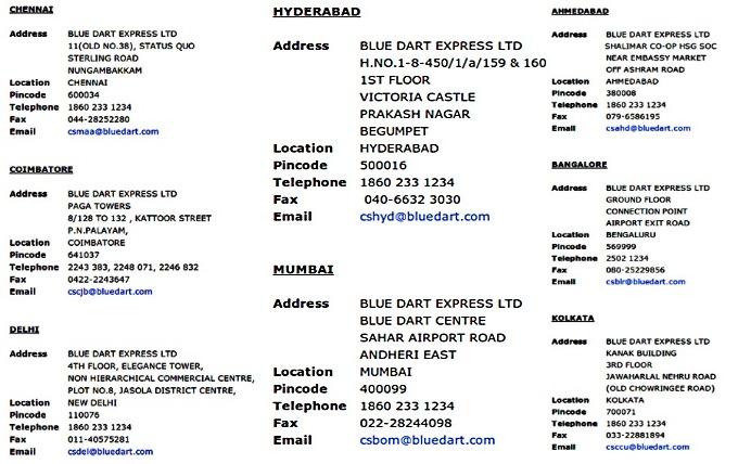 Blue Dart customer care number 17493 2