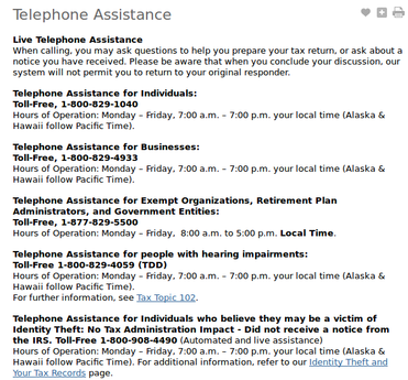 IRS customer service number 6380 3