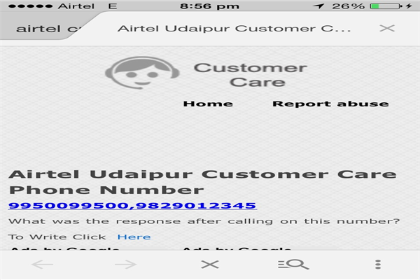 Airtel Udaipur Phone Number Customer Care Service