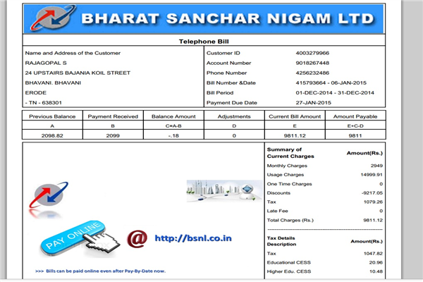 BSNL Erode Phone Number Customer Care Service